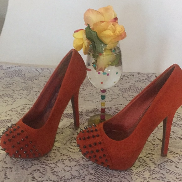 Society 89 Shoes - Society89 Orange Heels, NWOT, Studded, Suede 8.5